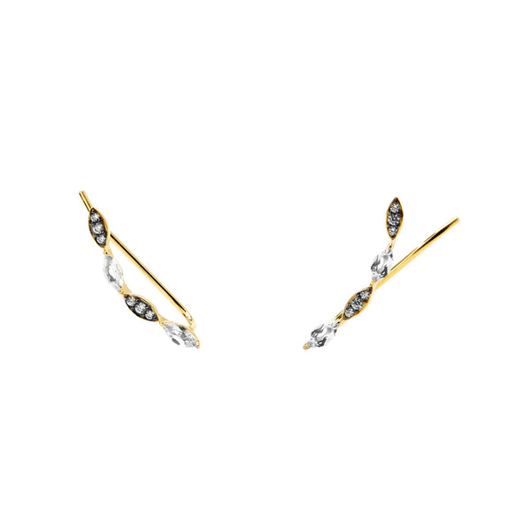 VILLA WHITE TOPAZ AND CZ CLIMBER EARRINGS