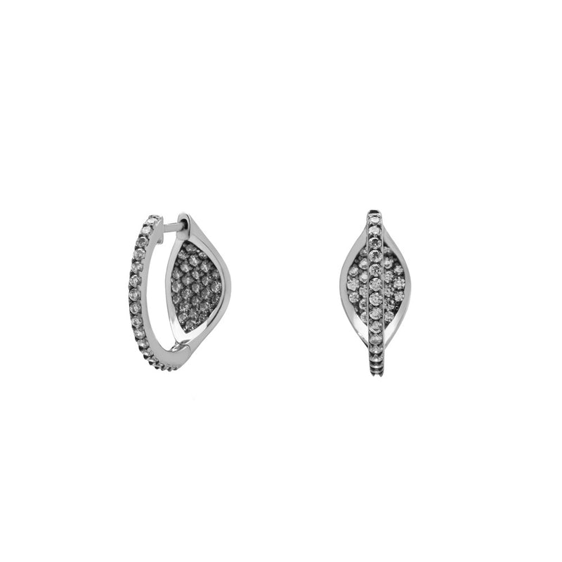 VILLA CZ PAVE HUGGIE HOOP EARRINGS