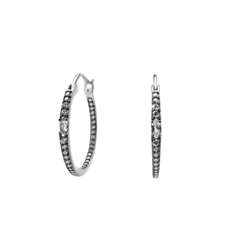VILLA WHITE TOPAZ AND CZ SMALL HOOP EARRINGS