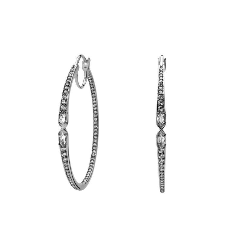 VILLA WHITE TOPAZ AND CZ MEDIUM HOOP EARRINGS
