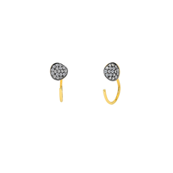 SIRENA DISC HUGGIE THREADER EARRINGS