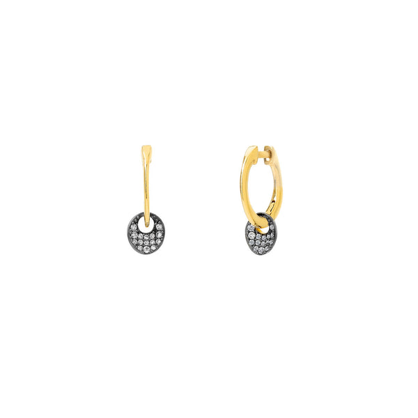 SIRENA DISC DROP HUGGIE EARRINGS