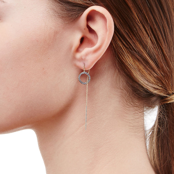 SIRENA CIRCLE THREADER EARRINGS