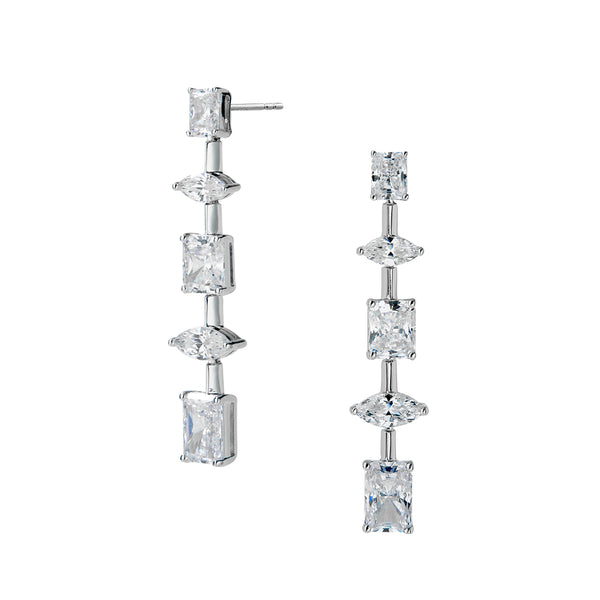 RAE MIXED CZ LINEAR EARRINGS