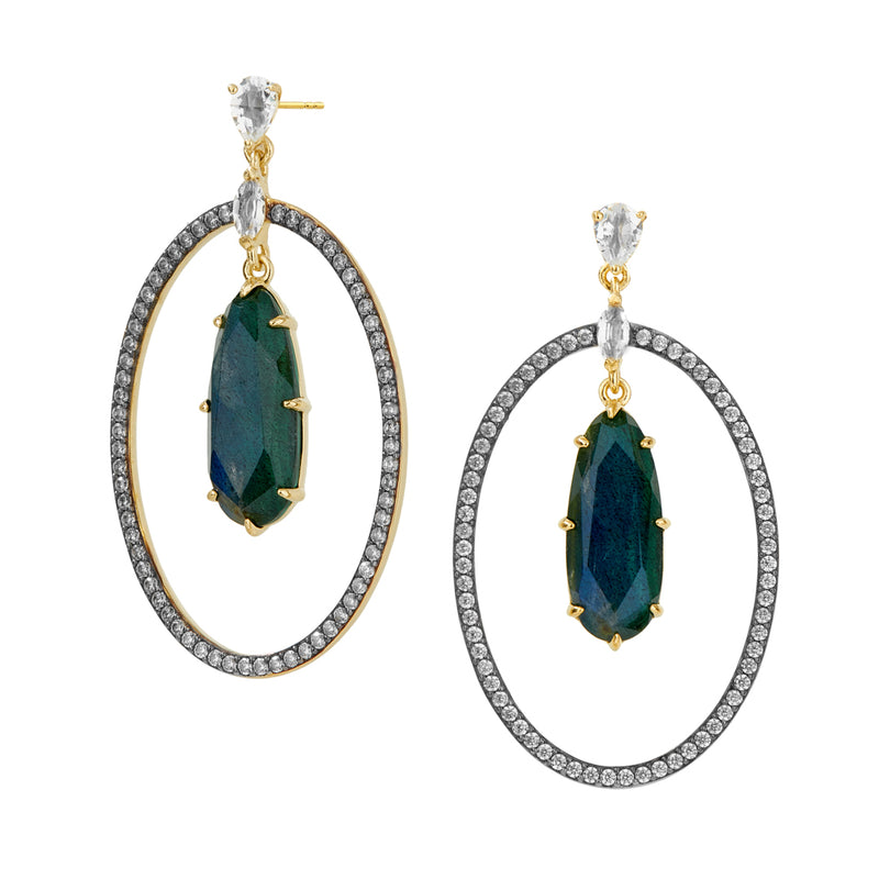 MARI LABRADORITE AND PAVE CZ FRONTAL HOOP EARRINGS