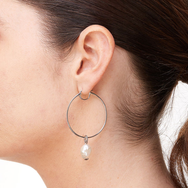 MARI BAROQUE FWP DROP HOOP EARRINGS