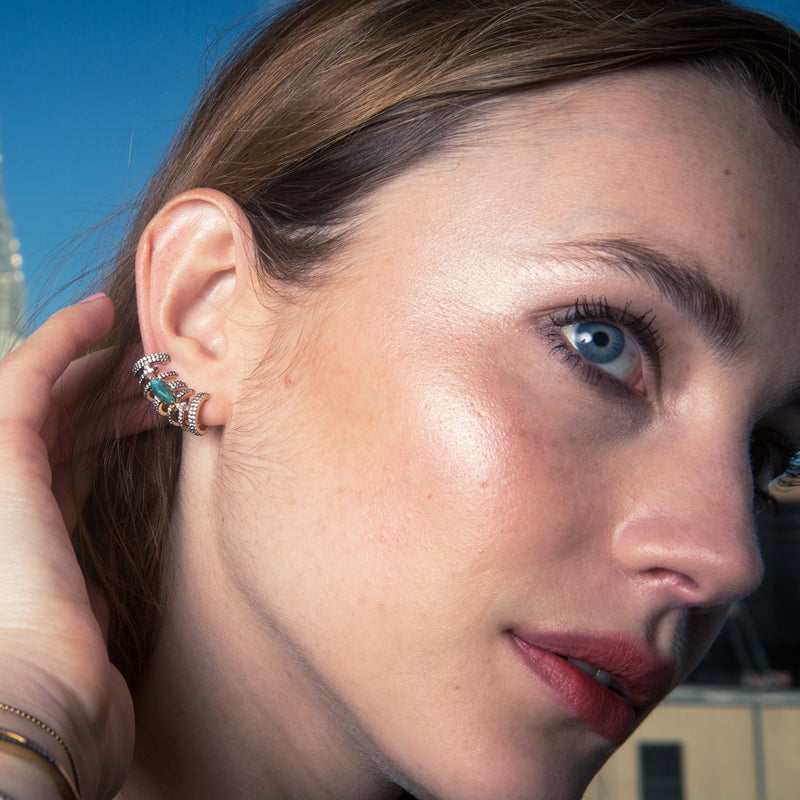MARI LABRADORITE AND PAVE CZ CLIMBER EARRINGS