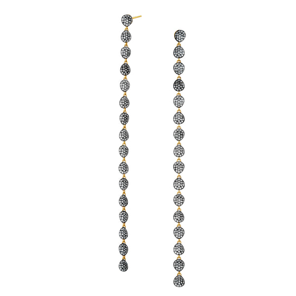 ADDA LONG LINEAR PAVE CZ DISCS EARRINGS