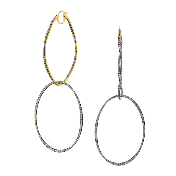 ADDA DOUBLE ORBITAL HOOP EARRINGS