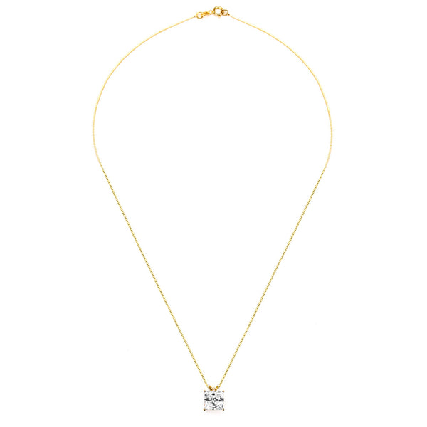14KT GOLD PRINCESS CUT CZ PENDANT NECKLACE