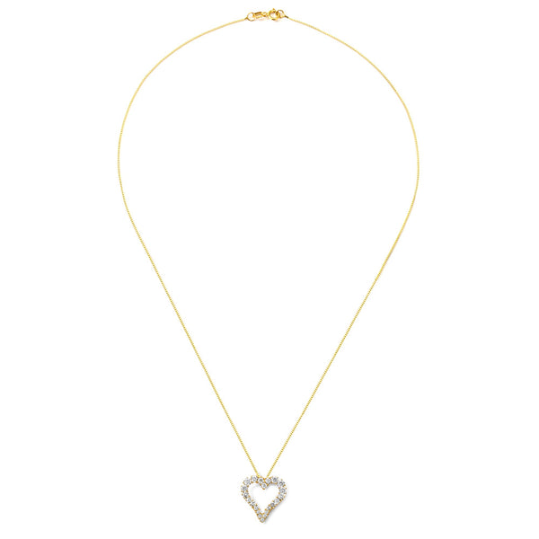14KT GOLD CZ HEART PENDANT NECKLACE