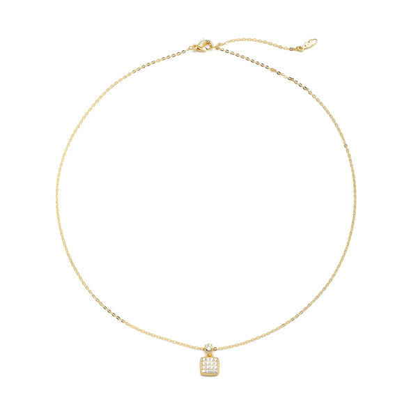 nadri 18k gold plated sterling silver pave cz square pendant necklace