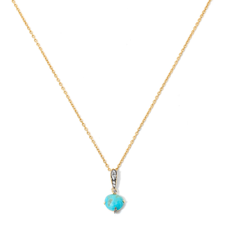 AGEAN TURQUOISE AND WHITE TOPAZ PENDANT NECKLACE