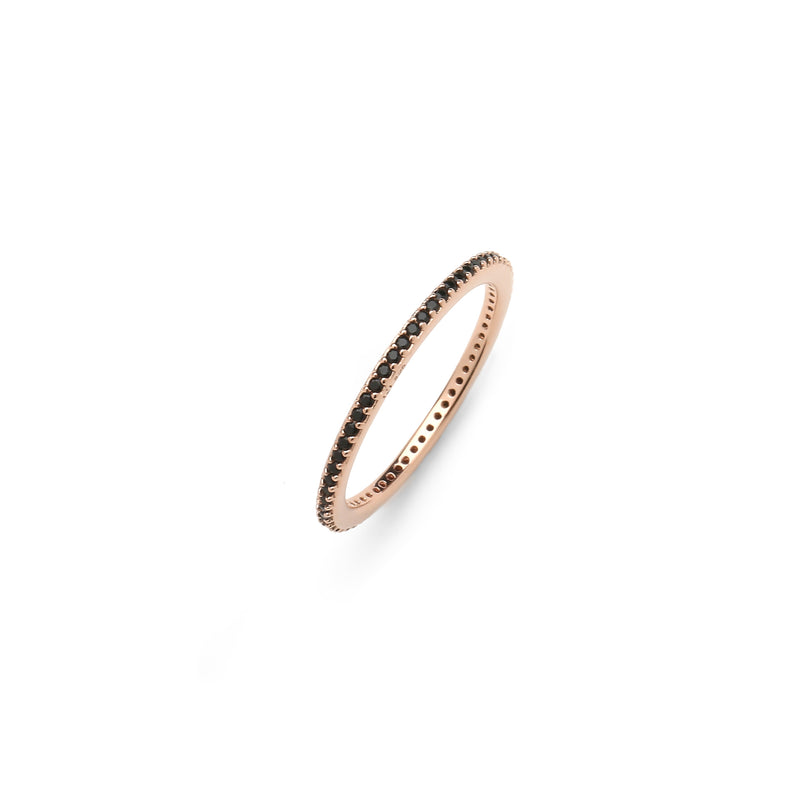 nadri rose gold plated sterling silver stackable synthetic jet nano cz eternity ring