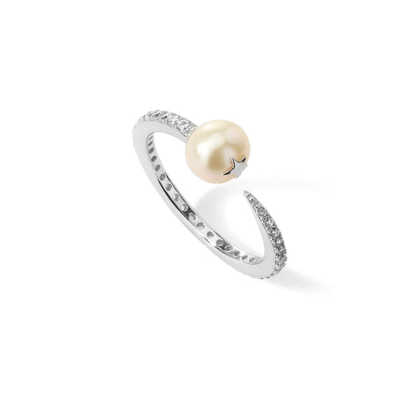 JULIET FRESHWATER PEARL AND CZ SKINNY RING