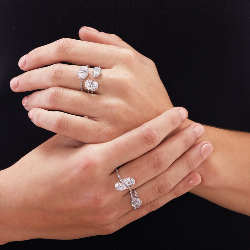 STONE SET PRONG CZ DOUBLE BAND RING - SPECIAL ORDER