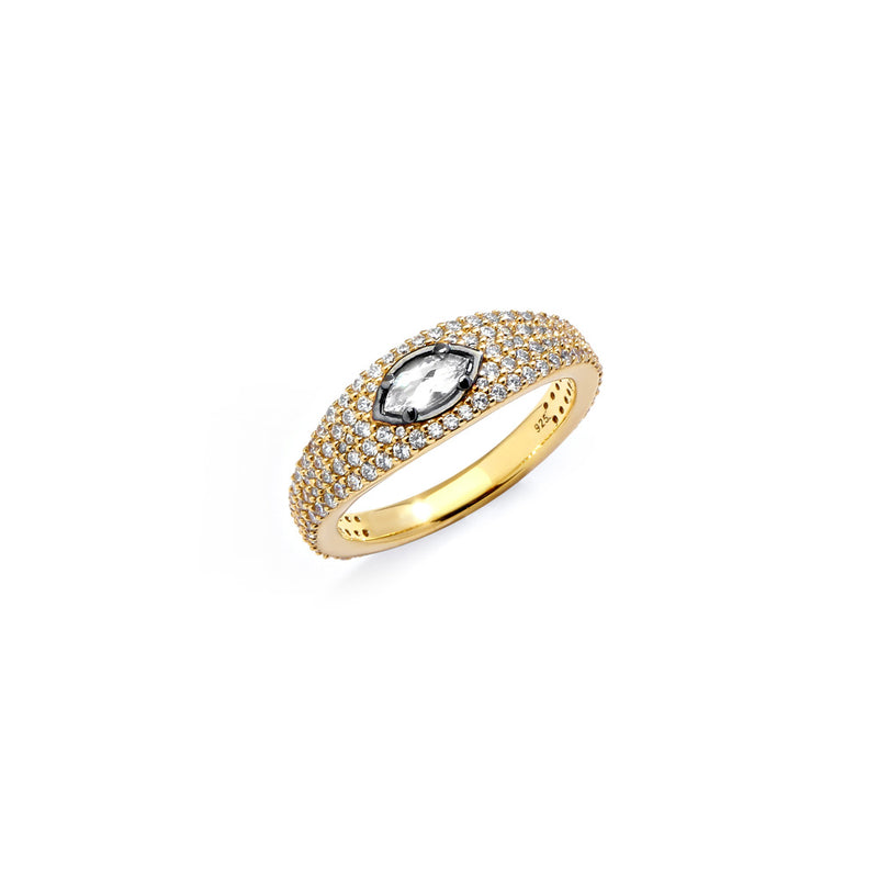 COMO WHITE TOPAZ AND PAVE CZ RING