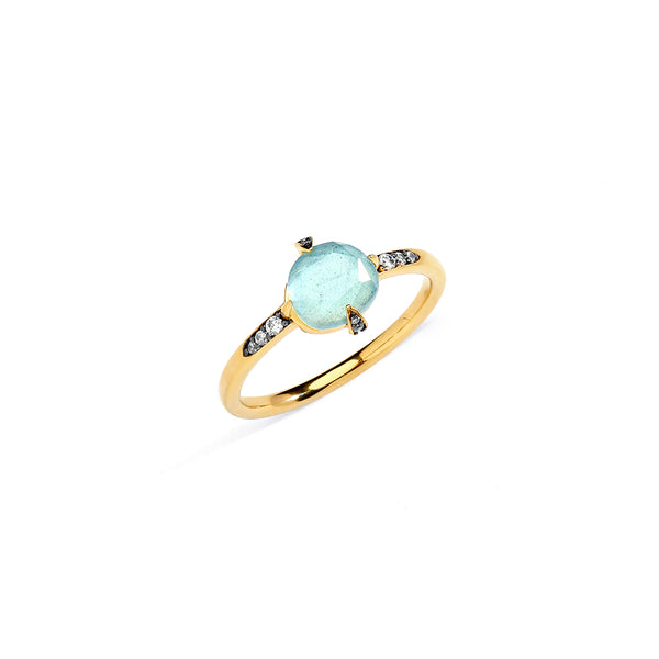 AGEAN GEMSTONE TRIPLET AND CZ RING