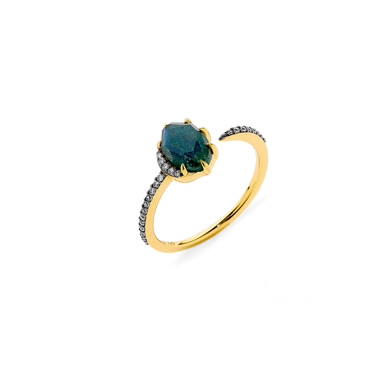MARI LABRADORITE AND PAVE CZ OPEN CUFF RING