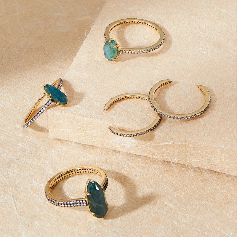 MARI LABRADORITE AND PAVE CZ SET OF 5 STACK RINGS