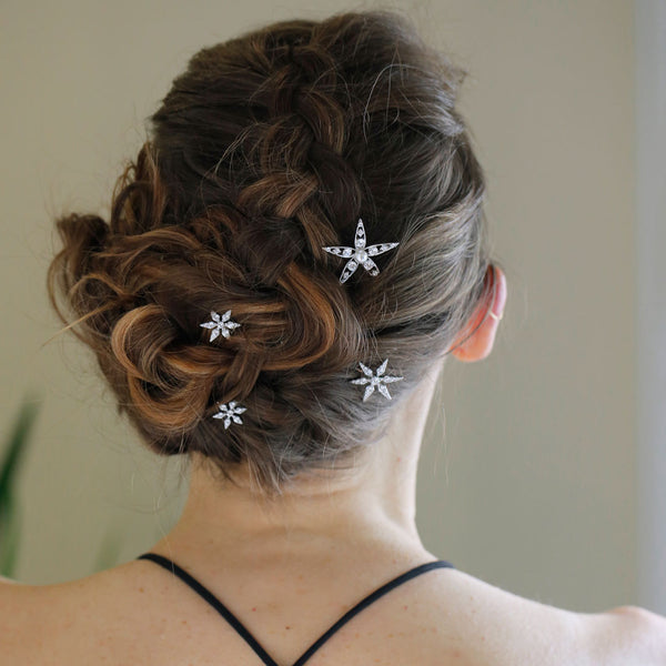 SET OF 3 SNOWFLAKE BOBBY PINS