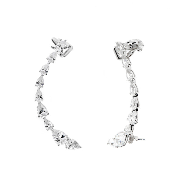 nadri rhodium plated sterling silver lumie cz ear climber earrings