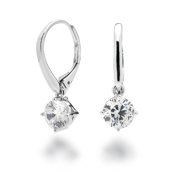 Cubic Zirconia Round Leverback Earrings Rhodium Plated