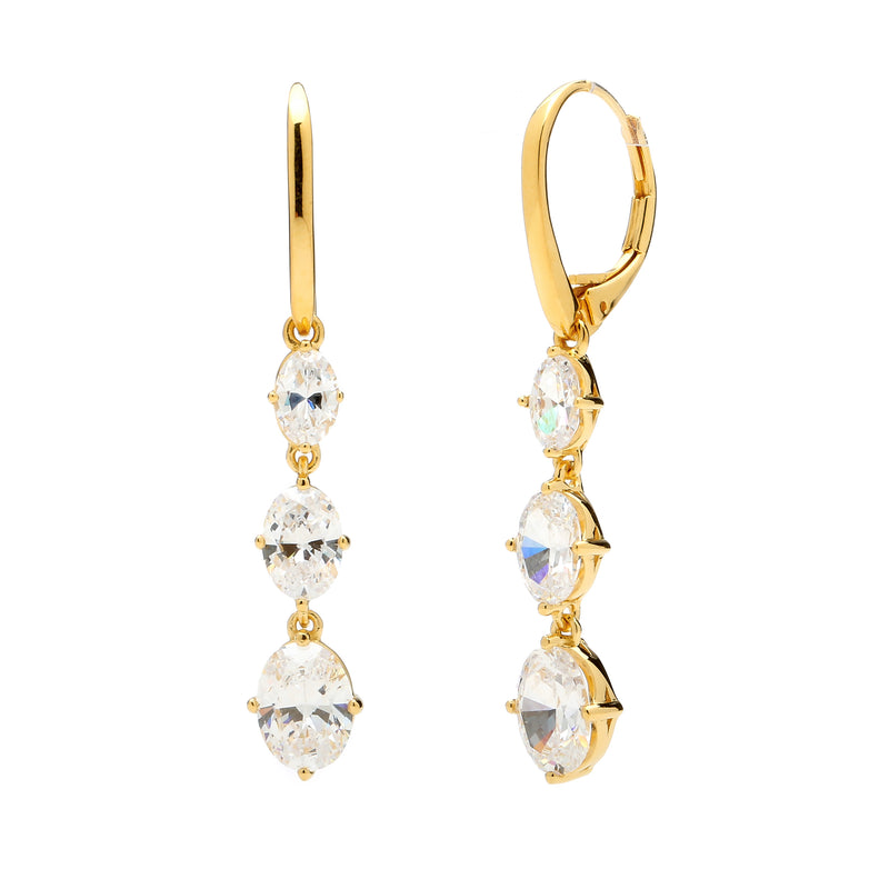 nadri 18k gold plated sterling silver triple oval cz leverback drop earrings