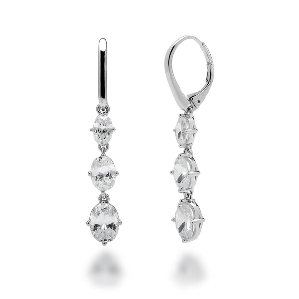 Cubic Zirconia Triple Oval Earrings Rhodium Plated