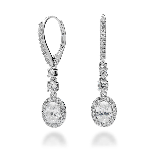 Cubic Zirconia Halo Oval Earrings Rhodium Plated