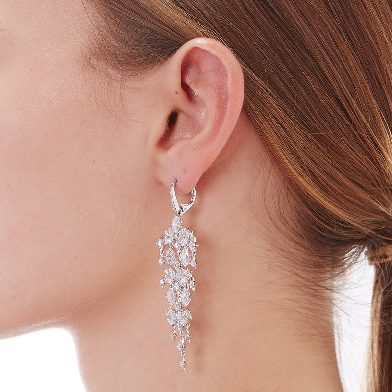 STONE-STUDDED CHANDELIER EARRINGS