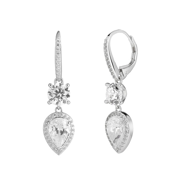 SMALL DOUBLE DROP CZ EARRINGS