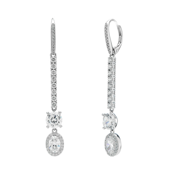 CZ MIXED STONE LINEAR DROP EARRINGS