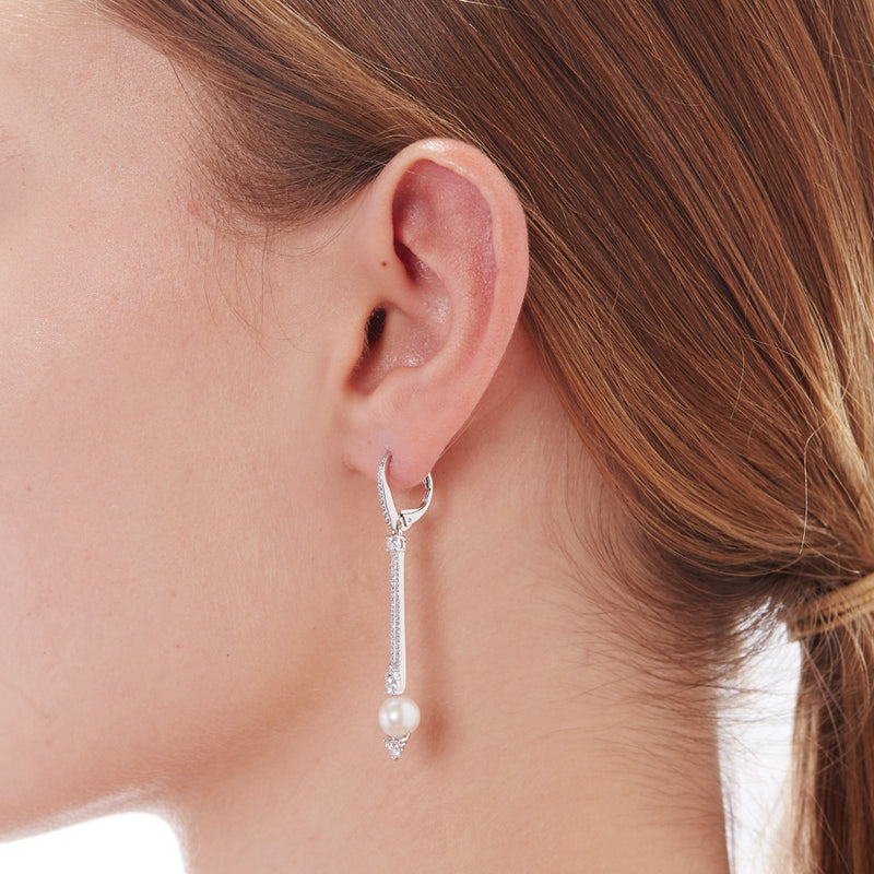 CZ & FRESHWATER PEARL LINEAR BAR DROP EARRINGS