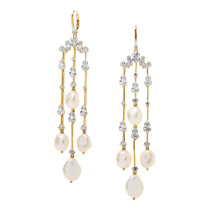 AUBREY BAROQUE PEARL CHANDELIER EARRINGS