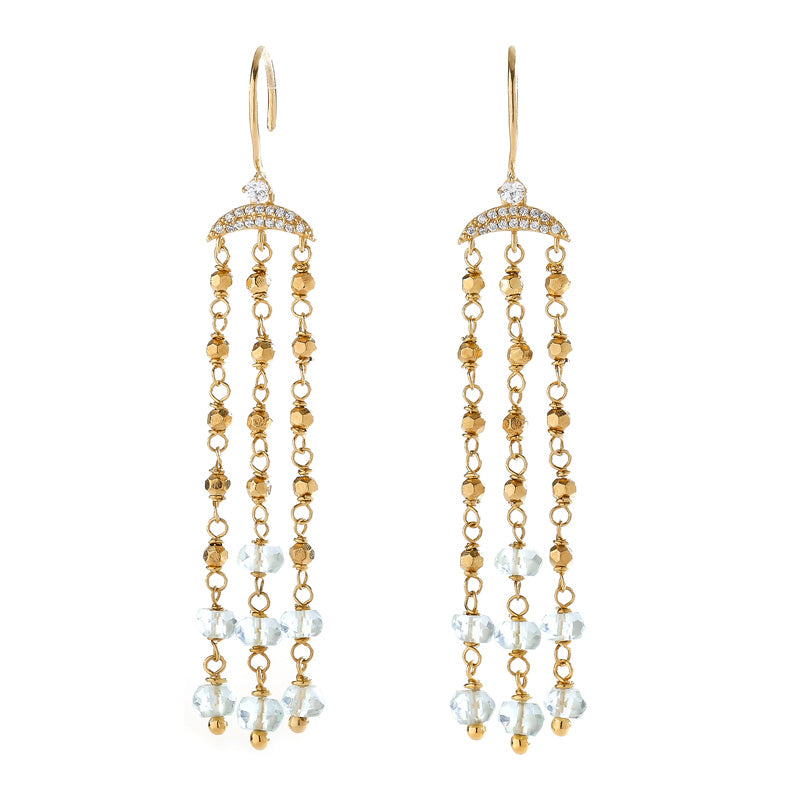 JULIET SILVER CZ CHANDELIER EARRINGS
