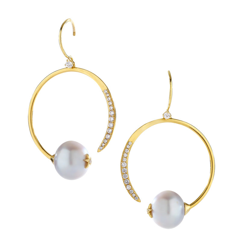 JULIET SILVER FRESHWATER PEARL AND CZ ECLIPSE HOOP EARRINGS