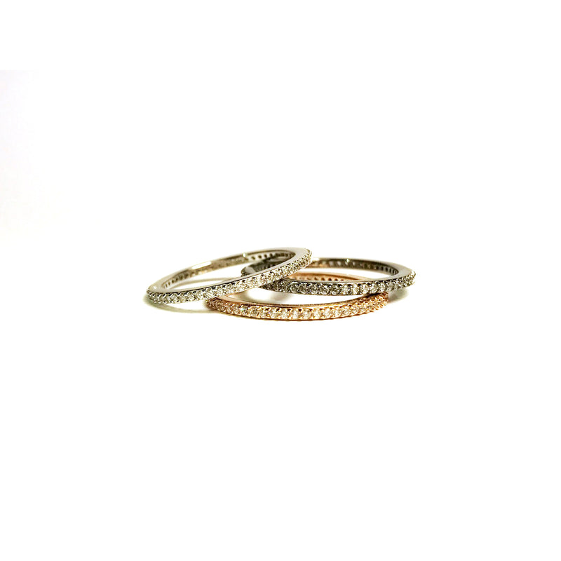 nadri multi color rhodium 18k gold rose plated sterling silver skinny PAVEcz band rings stack
