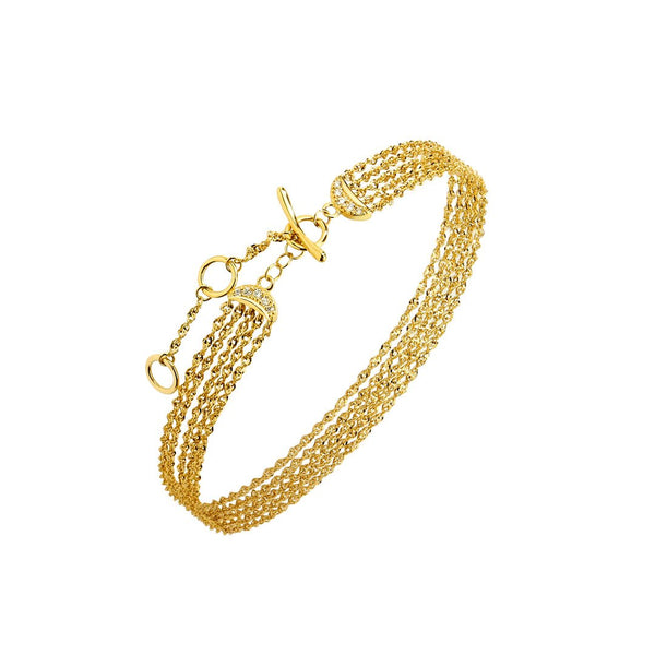 PHASE - DIAMOND PAVE DOUBLE CRESCENT FIVE ROW CHAIN BRACELET