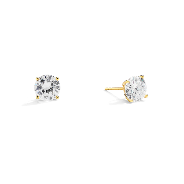 14KT GOLD ROUND 2CTW CZ EARRINGS