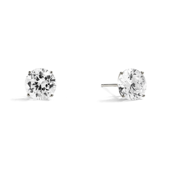 14KT GOLD ROUND 4CTW CZ EARRINGS