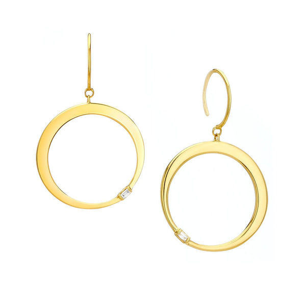 FLARE - FRONTAL DIAMOND HOOP DROP EARRINGS
