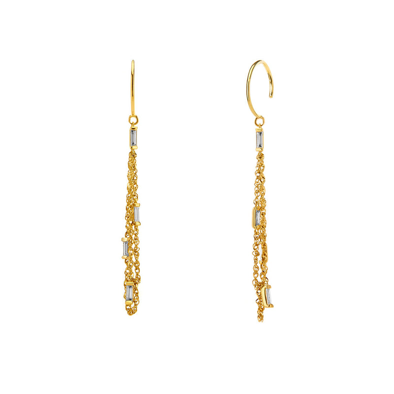 TIDAL - DIAMOND BAGUETTE NET DROP EARRINGS