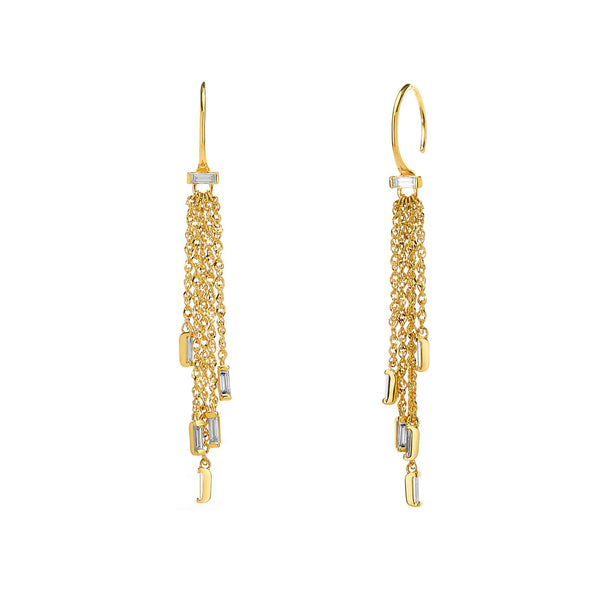 TIDAL - DIAMOND BAGUETTE FRINGE EARRINGS