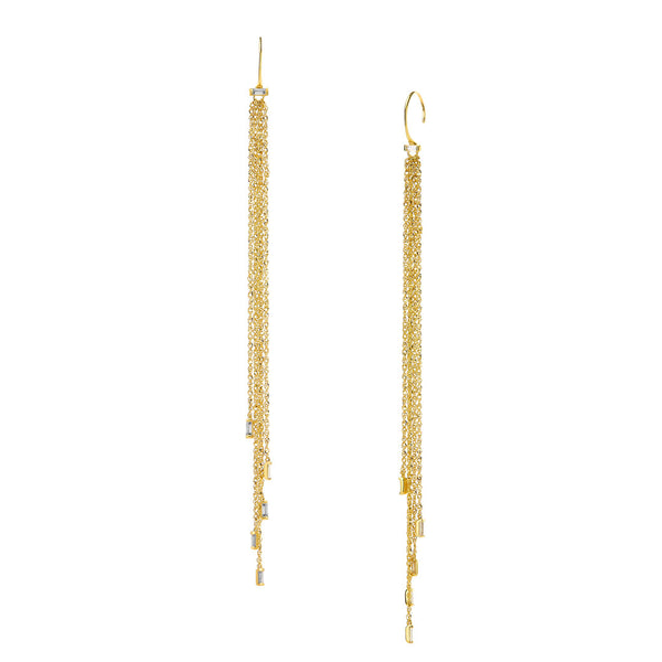 TIDAL - LONG DIAMOND FRINGE EARRINGS
