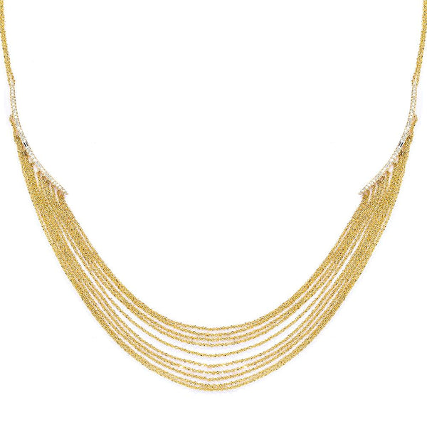 ECLIPSE - DIAMOND PAVE BAGUETTE DOUBLE CRESCENT MULTI-CHAIN STATEMENT NECKLACE