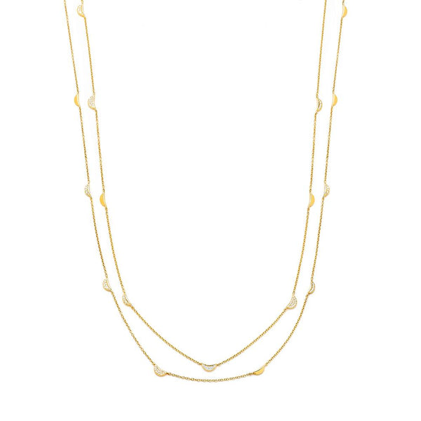 PHASE - LONG DIAMOND PAVE MOON PHASE STATION NECKLACE
