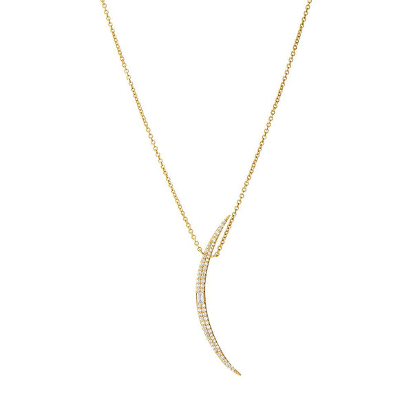 ECLIPSE - DIAMOND PAVE AND BAGUETTE GRAND CRESCENT NECKLACE