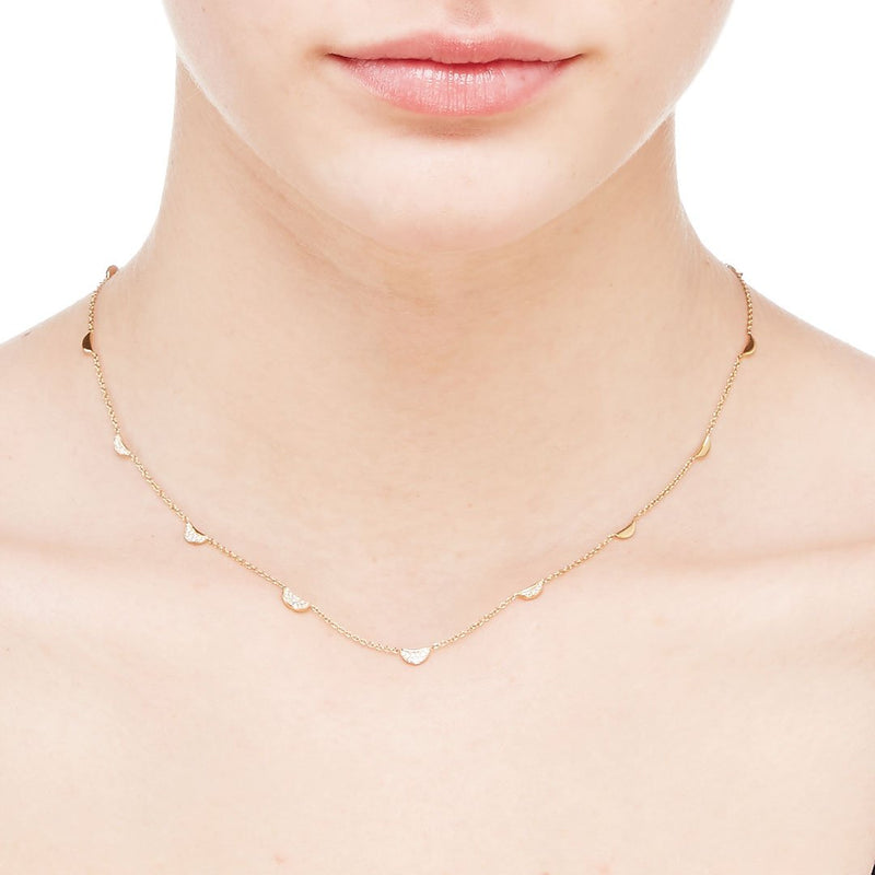 PHASE - DIAMOND PAVE AND GOLD MULTI CRESCENT STATION NECKLACE