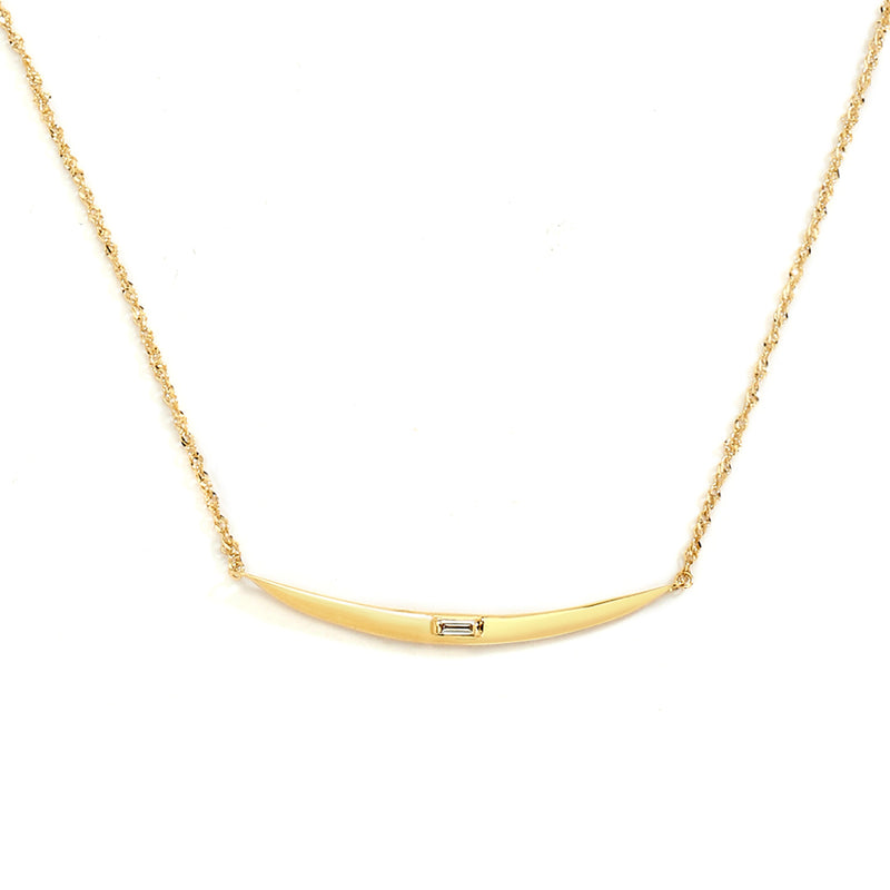 FLARE -  DIAMOND BAGUETTE ACCENT BAR FRONTAL NECKLACE
